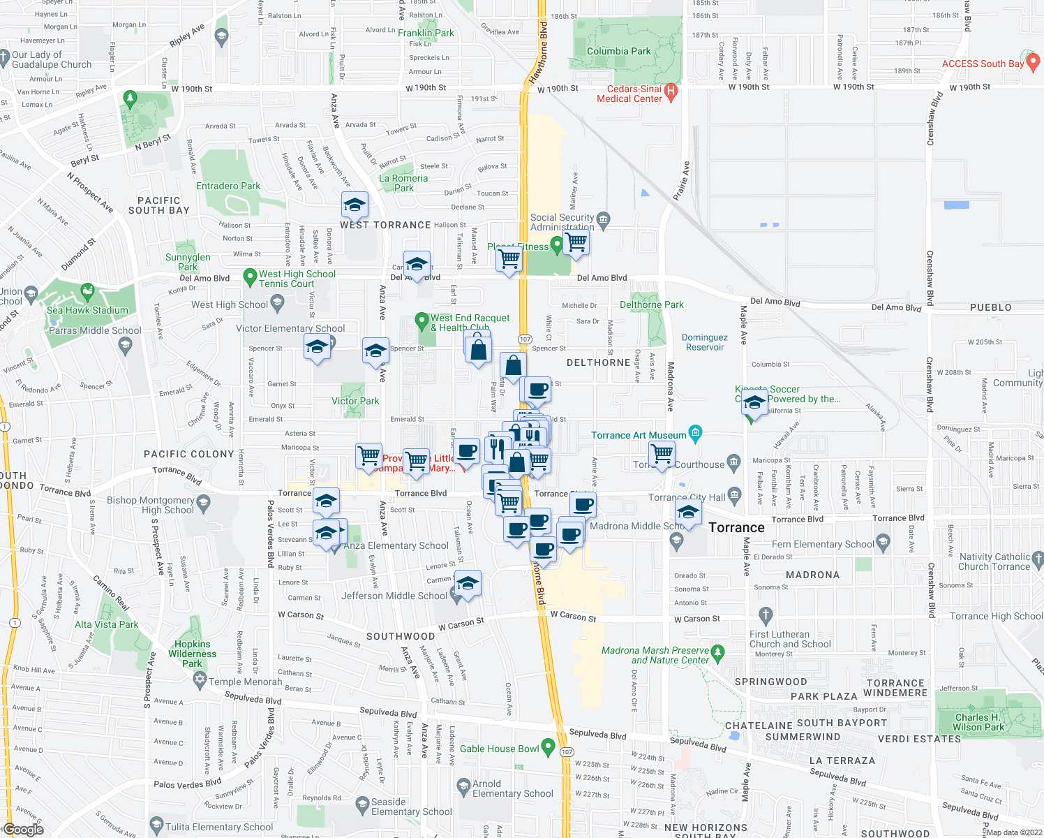 map of restaurants, bars, coffee shops, grocery stores, and more near Hawthorne Boulevard & Emerald Street in Torrance