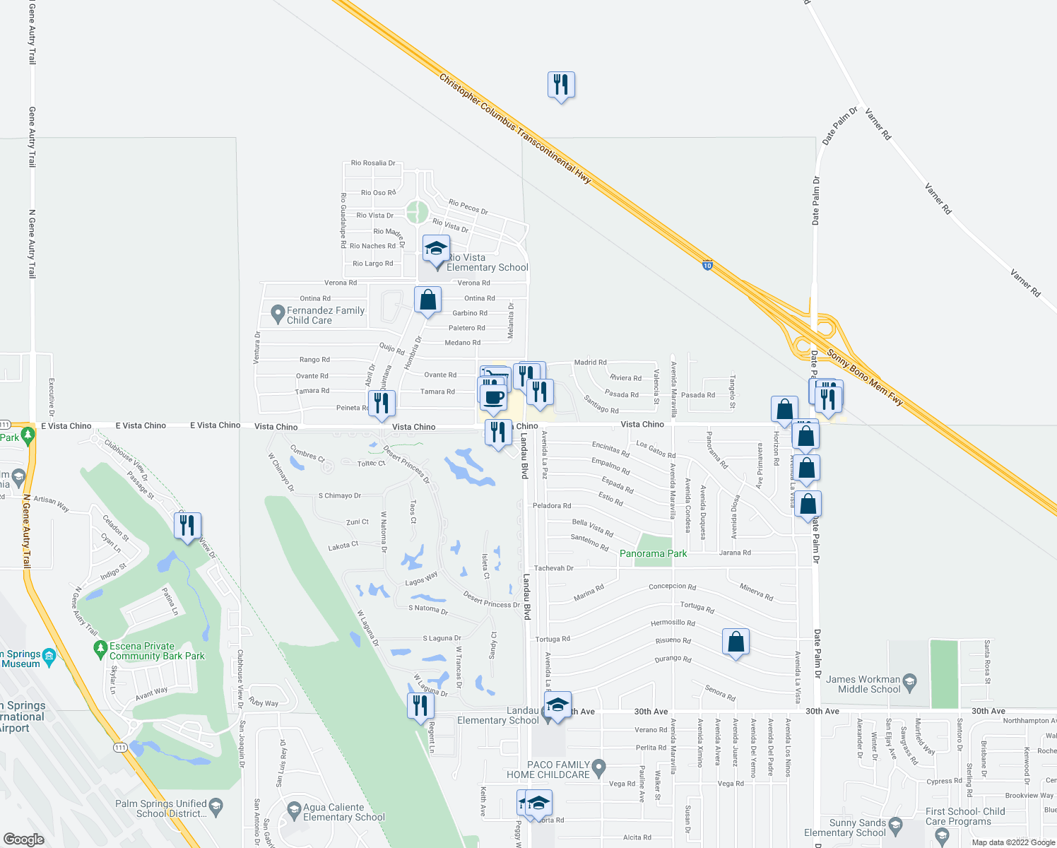 map of restaurants, bars, coffee shops, grocery stores, and more near Vista Chino in Cathedral City