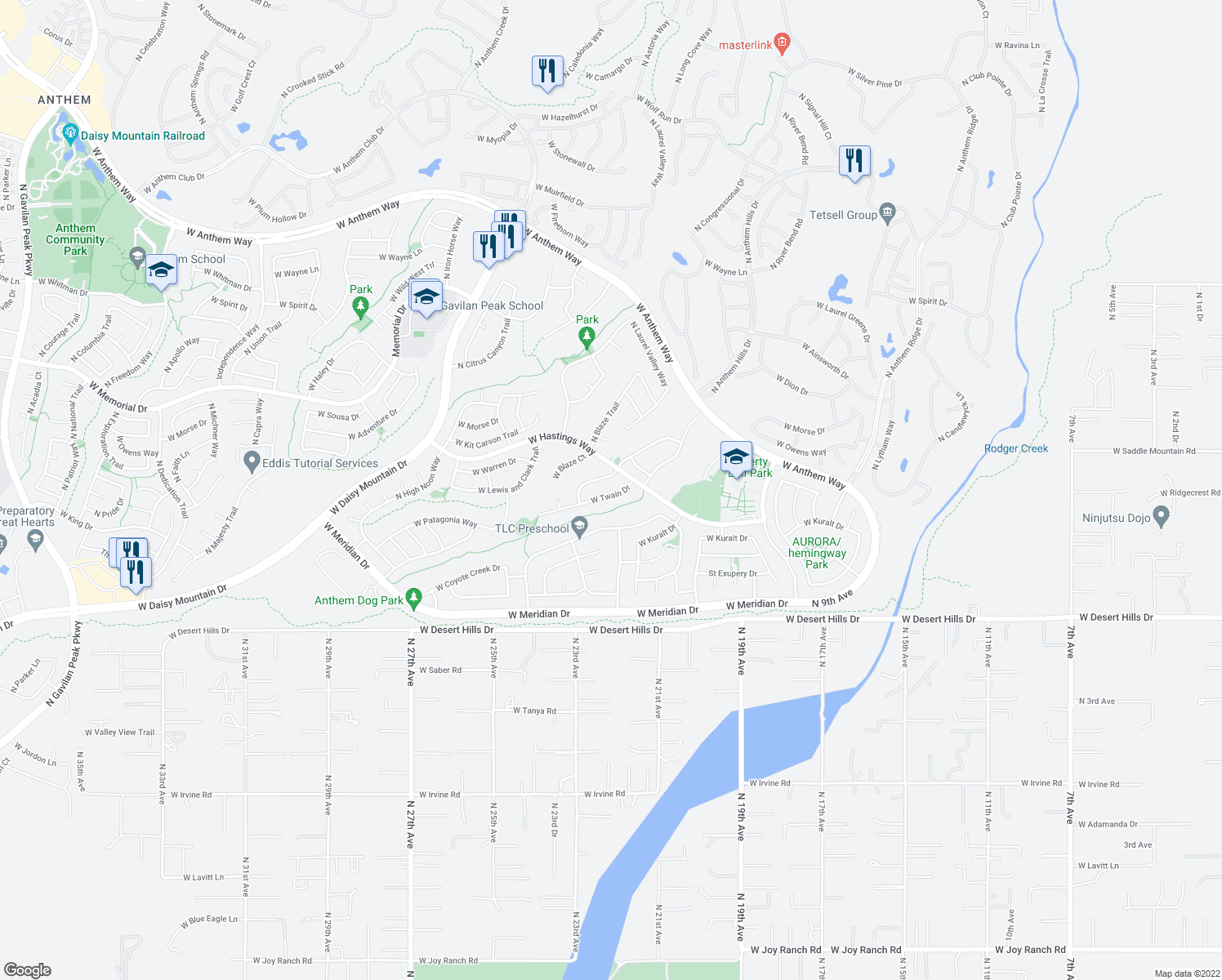 map of restaurants, bars, coffee shops, grocery stores, and more near 2222 West Twain Drive in Anthem