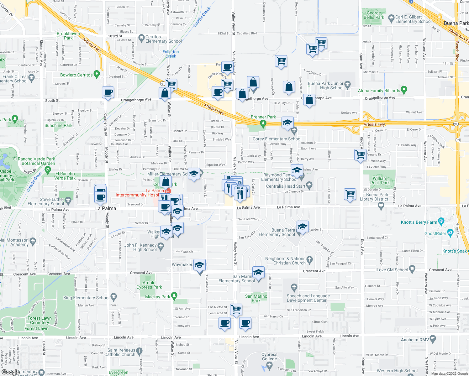 map of restaurants, bars, coffee shops, grocery stores, and more near 7860 Valley View Street in Buena Park