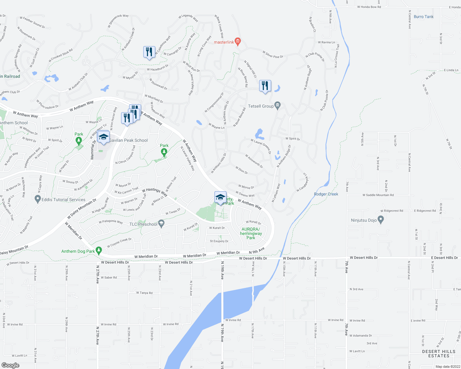 map of restaurants, bars, coffee shops, grocery stores, and more near 1867 West Owens Way in New River
