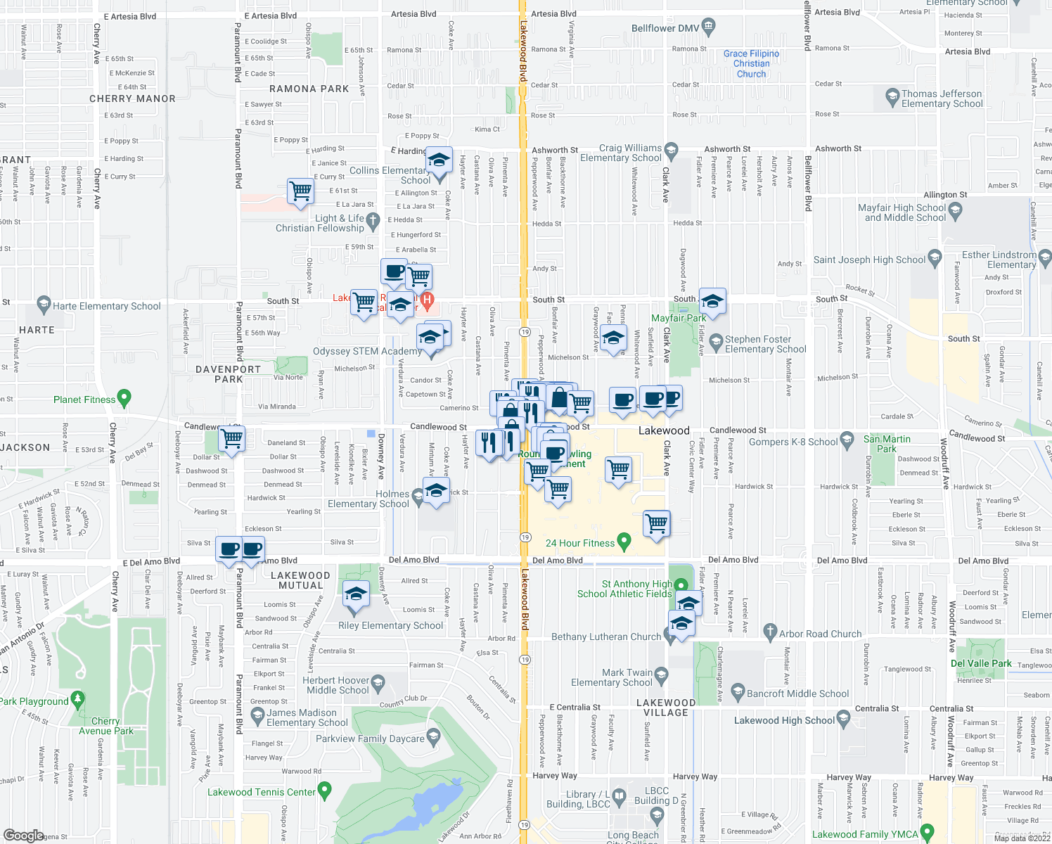 map of restaurants, bars, coffee shops, grocery stores, and more near Lakewood Boulevard in Lakewood