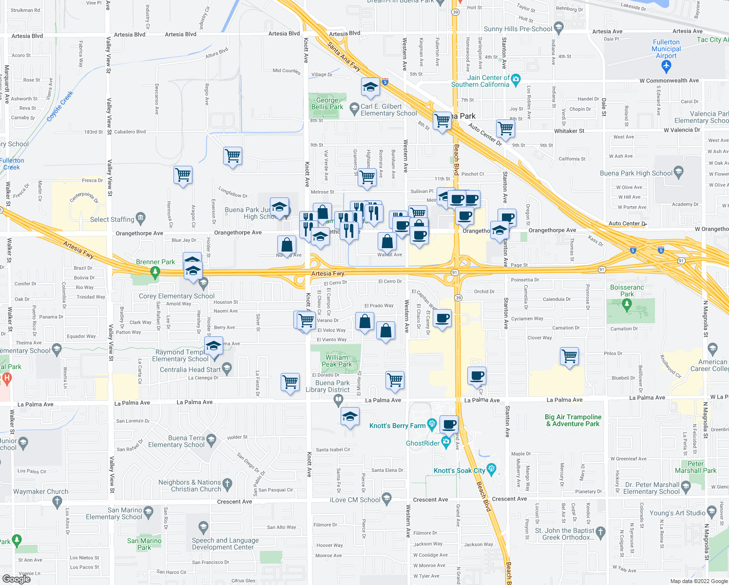 map of restaurants, bars, coffee shops, grocery stores, and more near 7433 McNeil Way in Buena Park