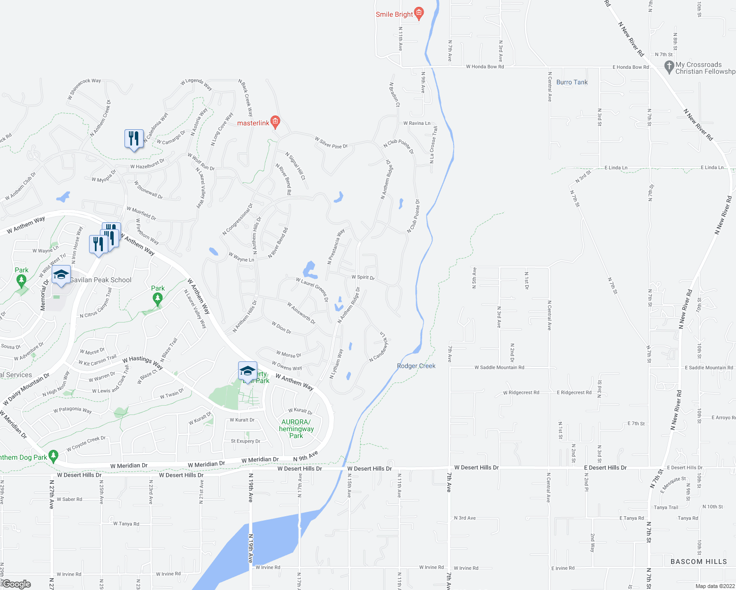 map of restaurants, bars, coffee shops, grocery stores, and more near 40721 North Long Landing Court in New River