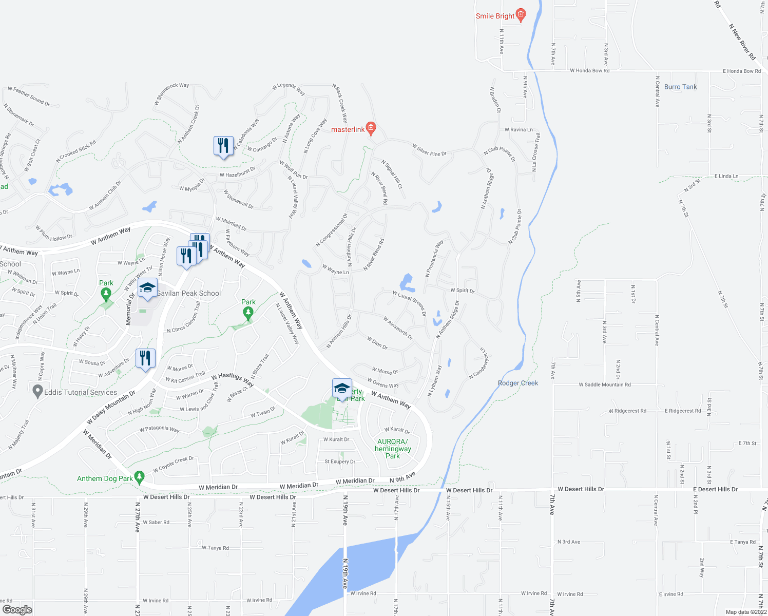 map of restaurants, bars, coffee shops, grocery stores, and more near 40802 North Thunder Hills Court in New River