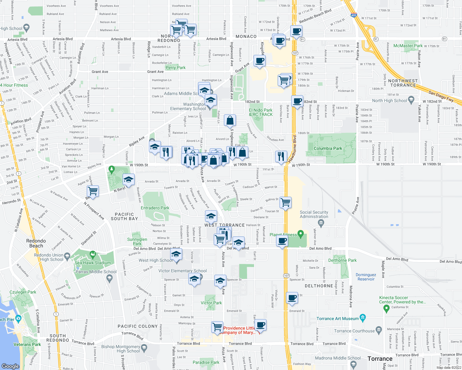 map of restaurants, bars, coffee shops, grocery stores, and more near 4802 Towers Street in Torrance