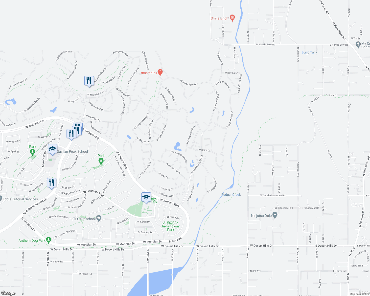 map of restaurants, bars, coffee shops, grocery stores, and more near 40838 North Prestancia Court in New River