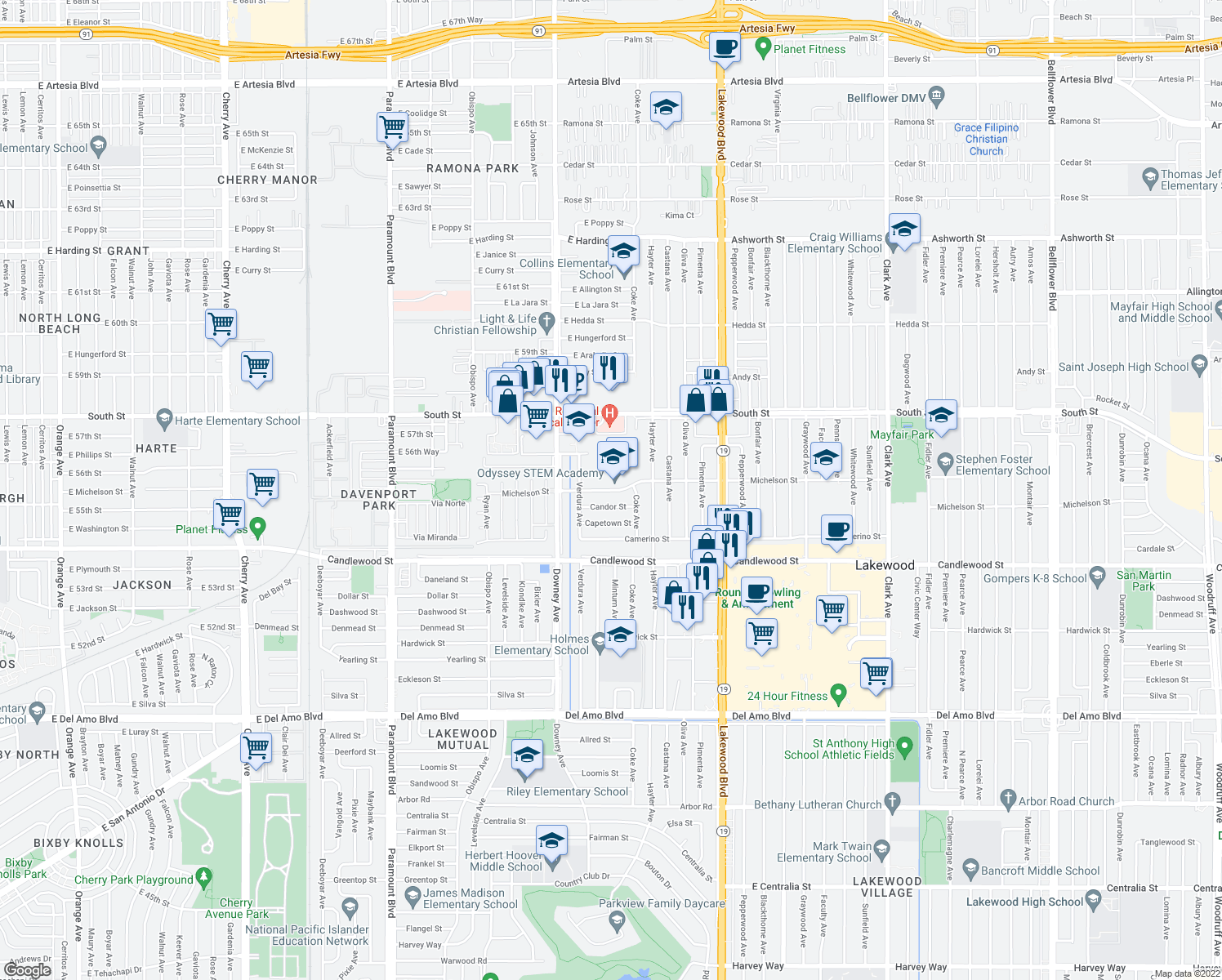 map of restaurants, bars, coffee shops, grocery stores, and more near 3623 Candor Street in Lakewood