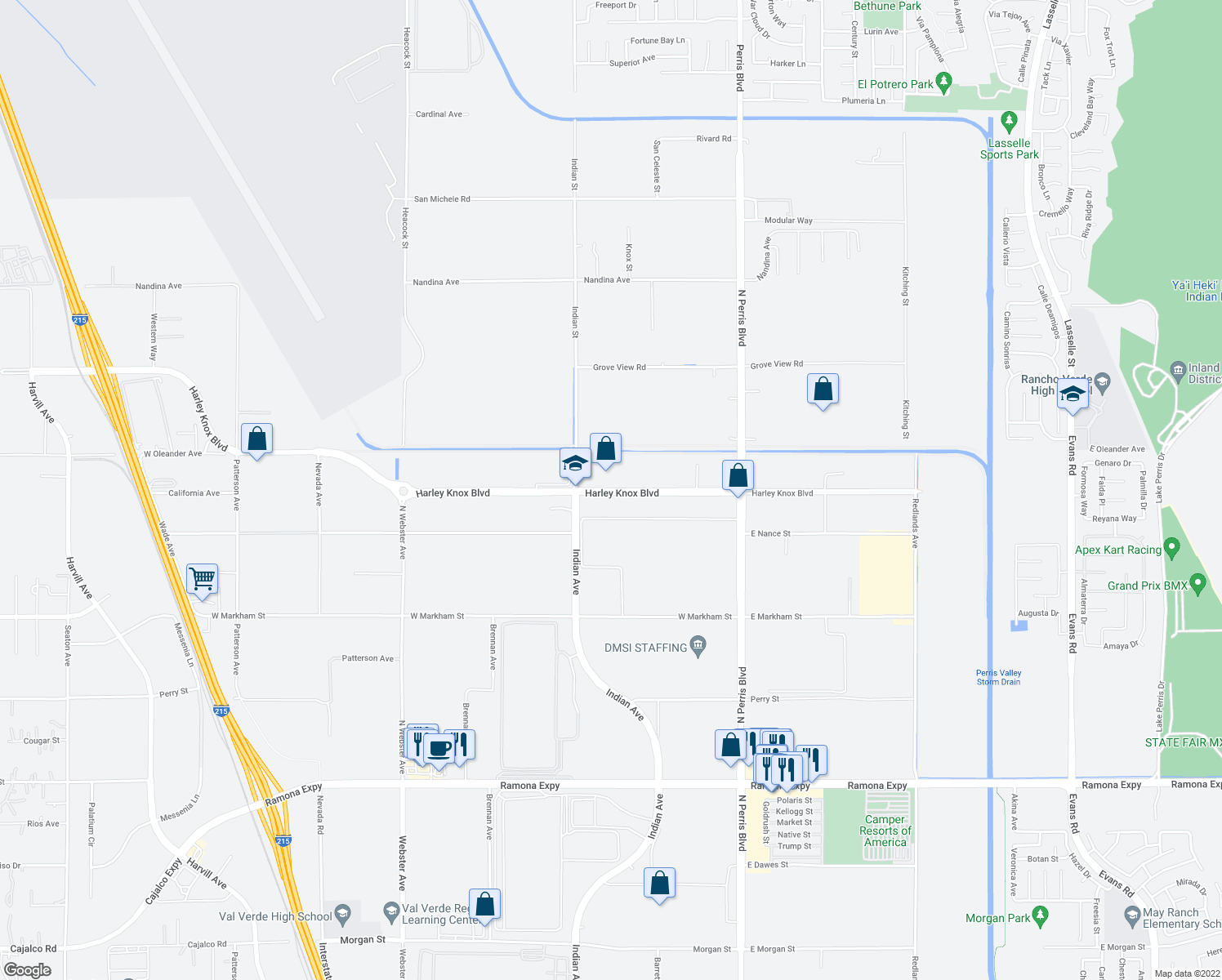 map of restaurants, bars, coffee shops, grocery stores, and more near 416 Harley Knox Boulevard in Perris