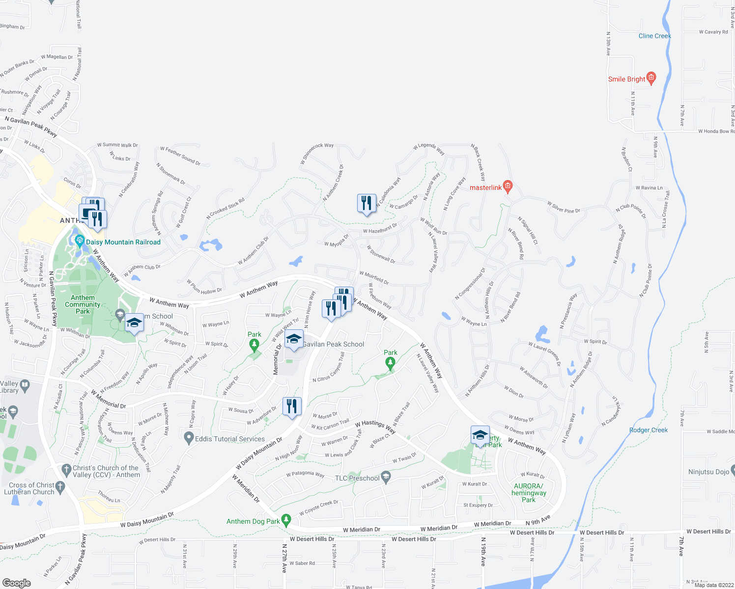 map of restaurants, bars, coffee shops, grocery stores, and more near 2361 West Firethorn Way in Anthem