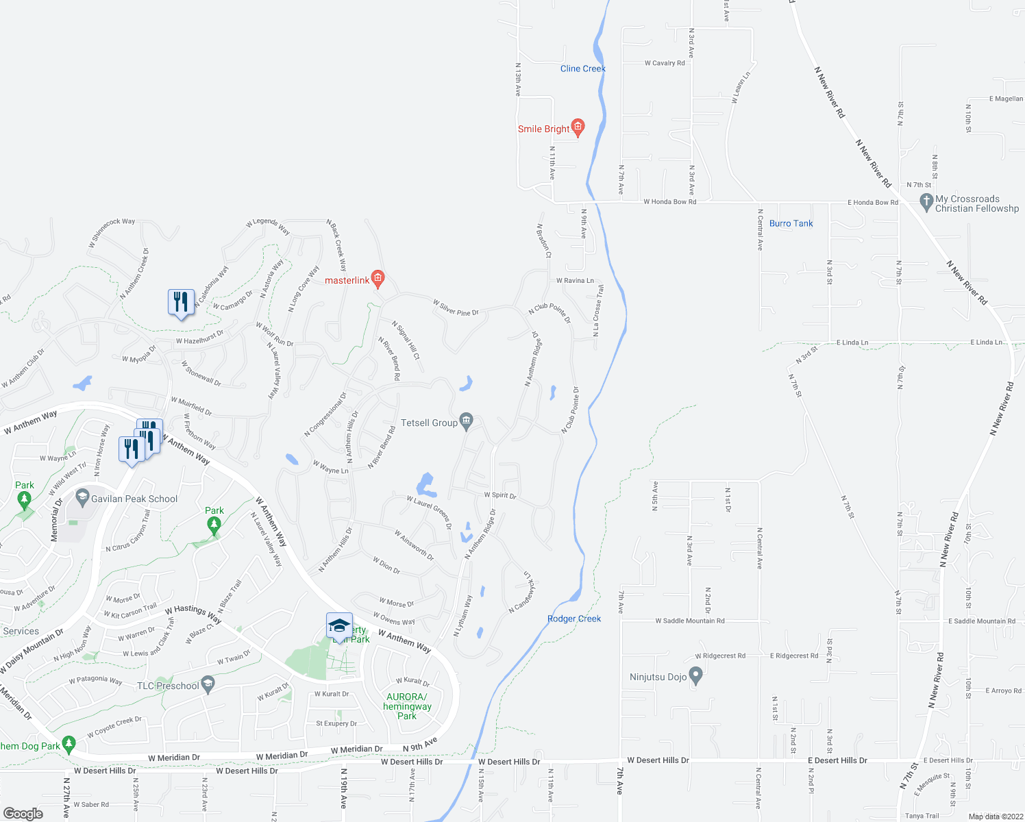 map of restaurants, bars, coffee shops, grocery stores, and more near 41408 North Anthem Ridge Drive in Anthem