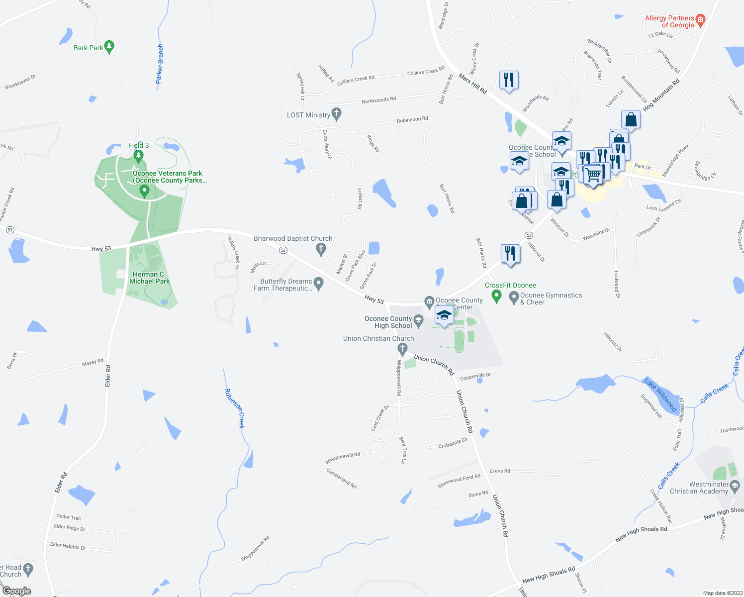 map of restaurants, bars, coffee shops, grocery stores, and more near 2882 Hog Mountain Road in Watkinsville
