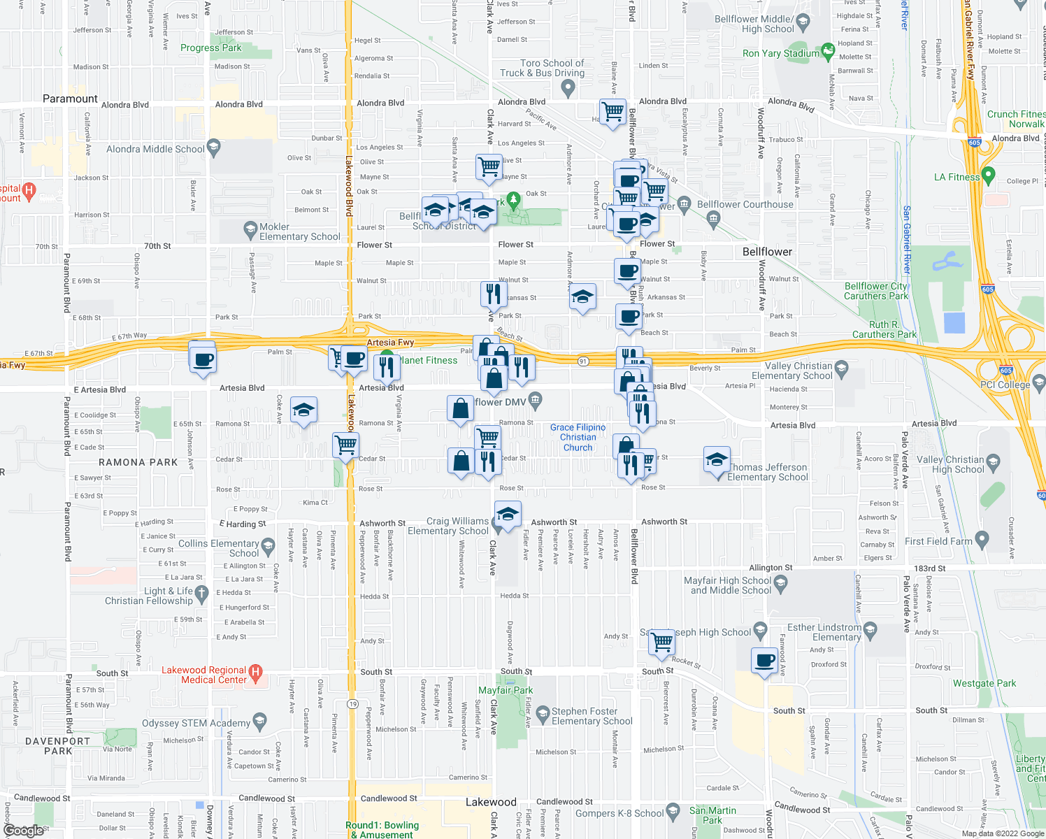 map of restaurants, bars, coffee shops, grocery stores, and more near 9451 Ramona Street in Bellflower