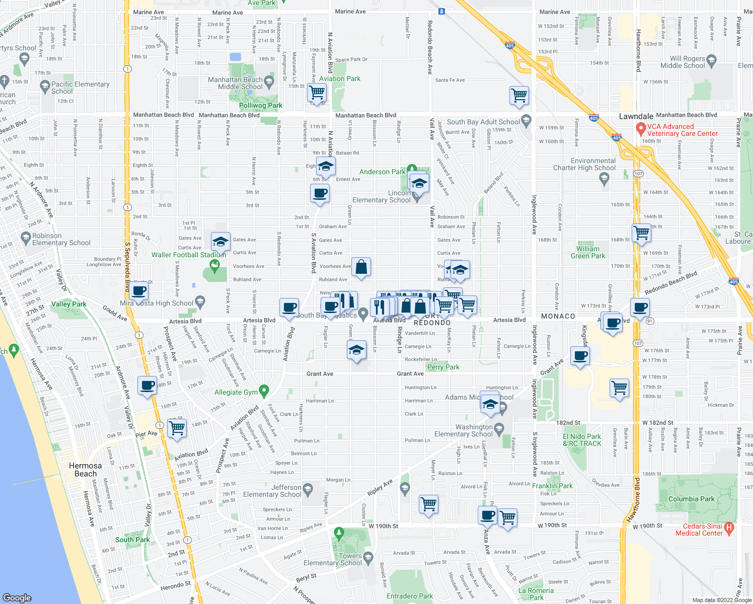 map of restaurants, bars, coffee shops, grocery stores, and more near 2100 Blossom Lane in Redondo Beach