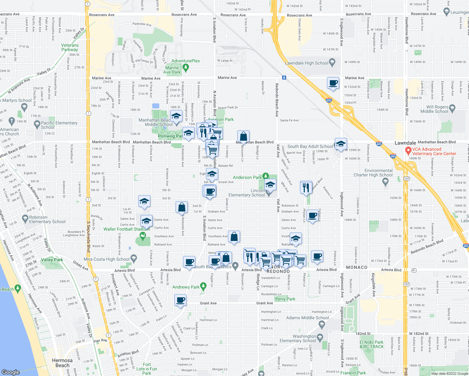 map of restaurants, bars, coffee shops, grocery stores, and more near 2011 Perry Avenue in Redondo Beach