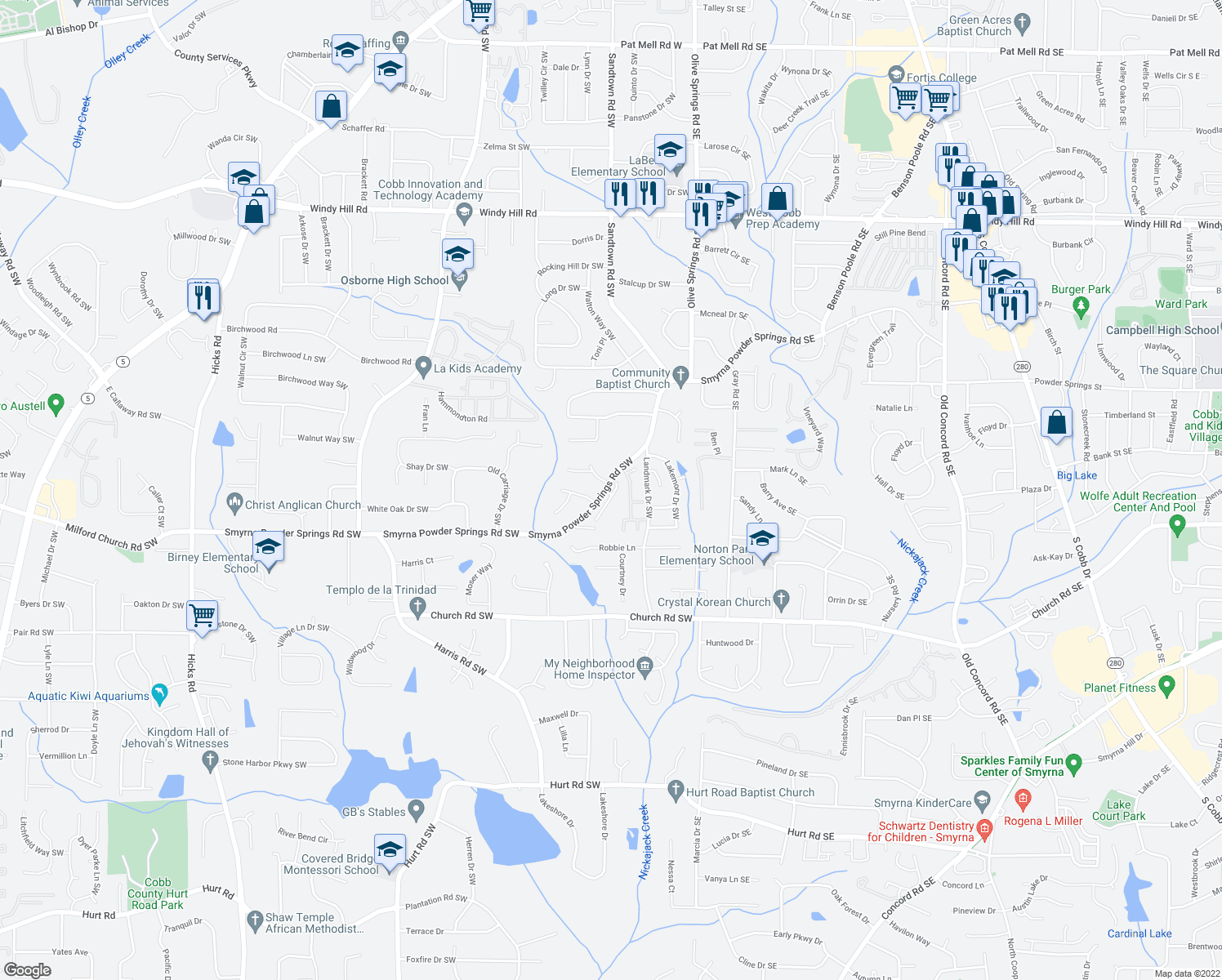 map of restaurants, bars, coffee shops, grocery stores, and more near 2892 O'Shields Court Southwest in Marietta