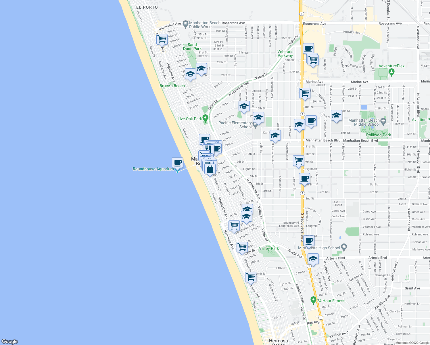 map of restaurants, bars, coffee shops, grocery stores, and more near 228 9th Place in Manhattan Beach