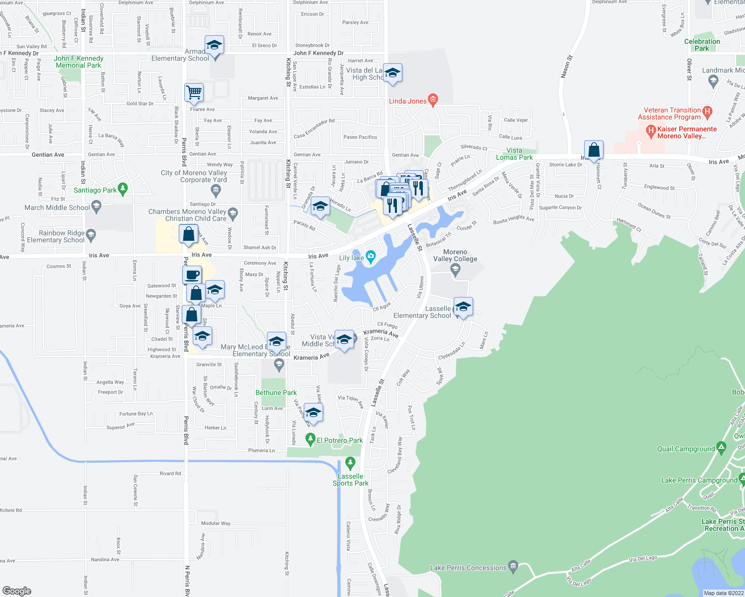 map of restaurants, bars, coffee shops, grocery stores, and more near 16175 Grande Isla Cir in Moreno Valley