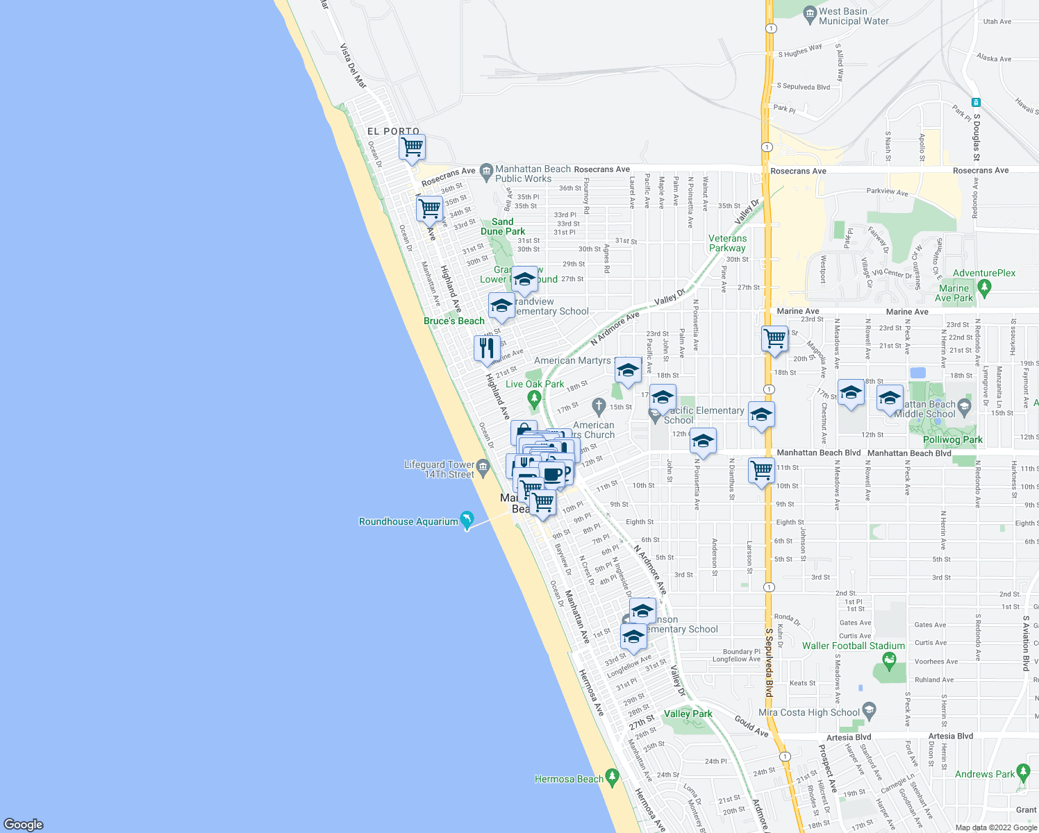 map of restaurants, bars, coffee shops, grocery stores, and more near 317 17th Street in Manhattan Beach