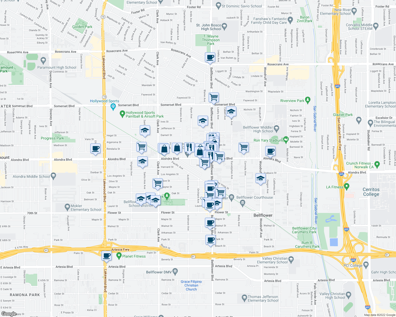 map of restaurants, bars, coffee shops, grocery stores, and more near 9675-9681 Alondra Boulevard in Bellflower