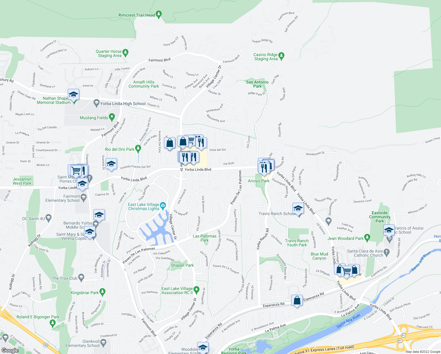 map of restaurants, bars, coffee shops, grocery stores, and more near 20650 Calle Feliz in Yorba Linda