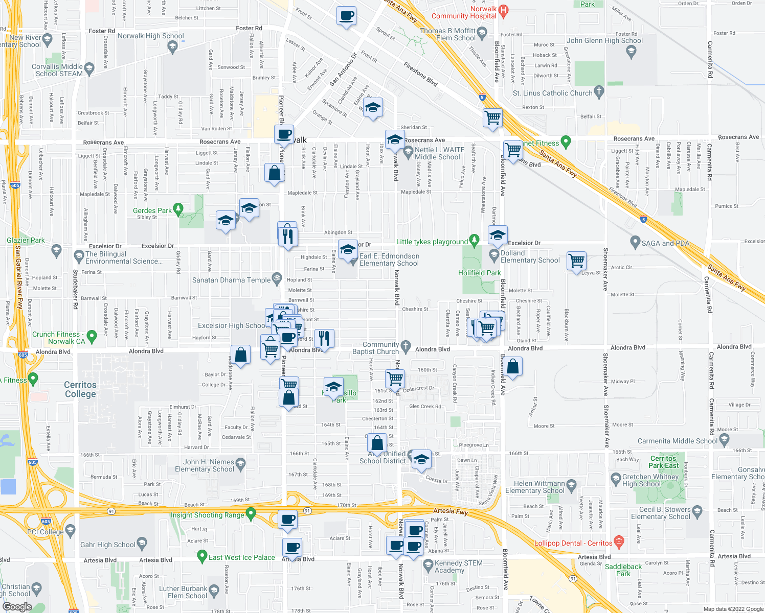 map of restaurants, bars, coffee shops, grocery stores, and more near 12136 Barnwall Street in Norwalk