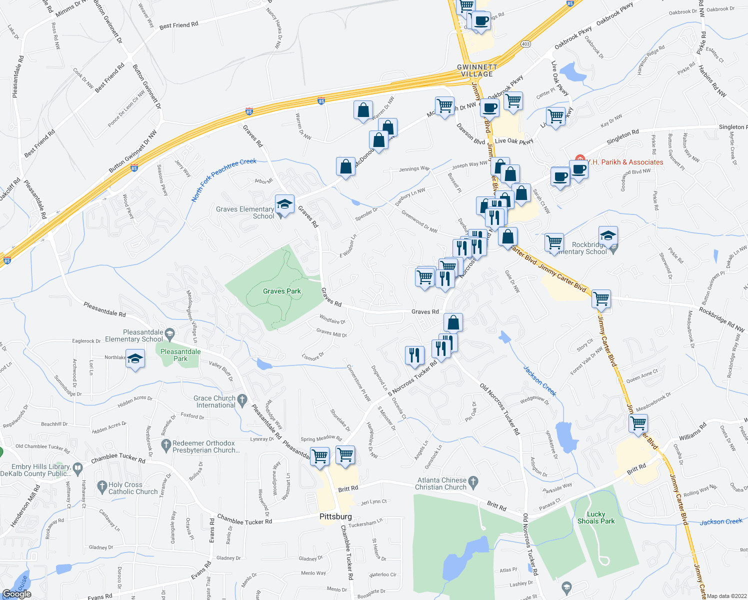 map of restaurants, bars, coffee shops, grocery stores, and more near 1905 Tree House Parkway in Norcross