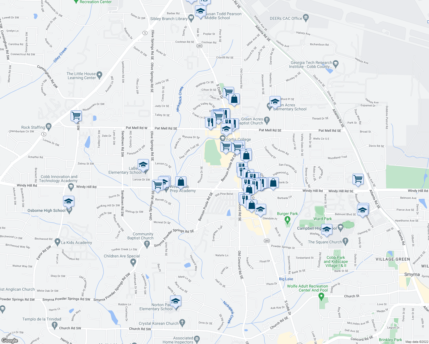 map of restaurants, bars, coffee shops, grocery stores, and more near 2300 Benson Poole Rd SE in Smyrna
