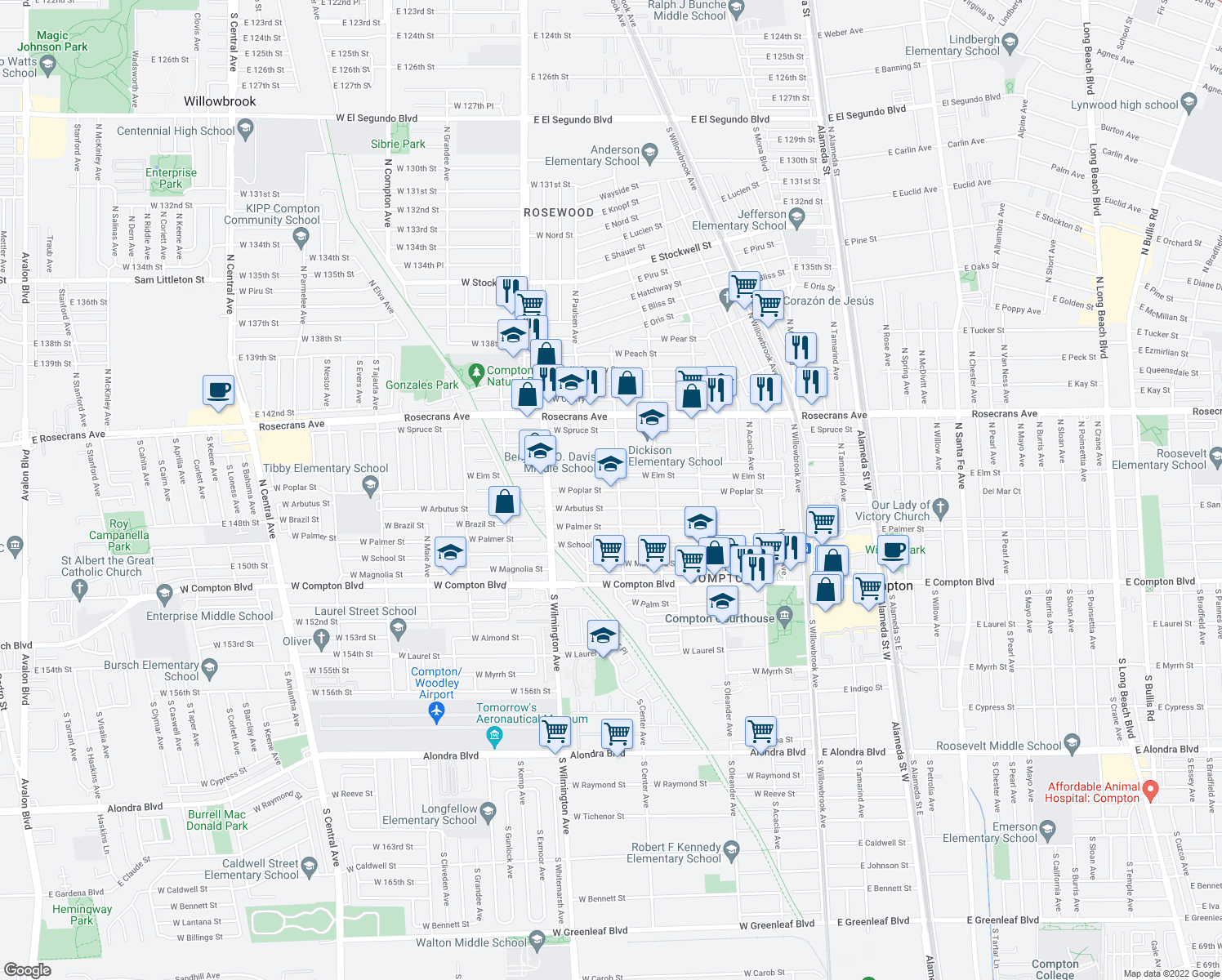 map of restaurants, bars, coffee shops, grocery stores, and more near 601-621 West Poplar Street in Compton