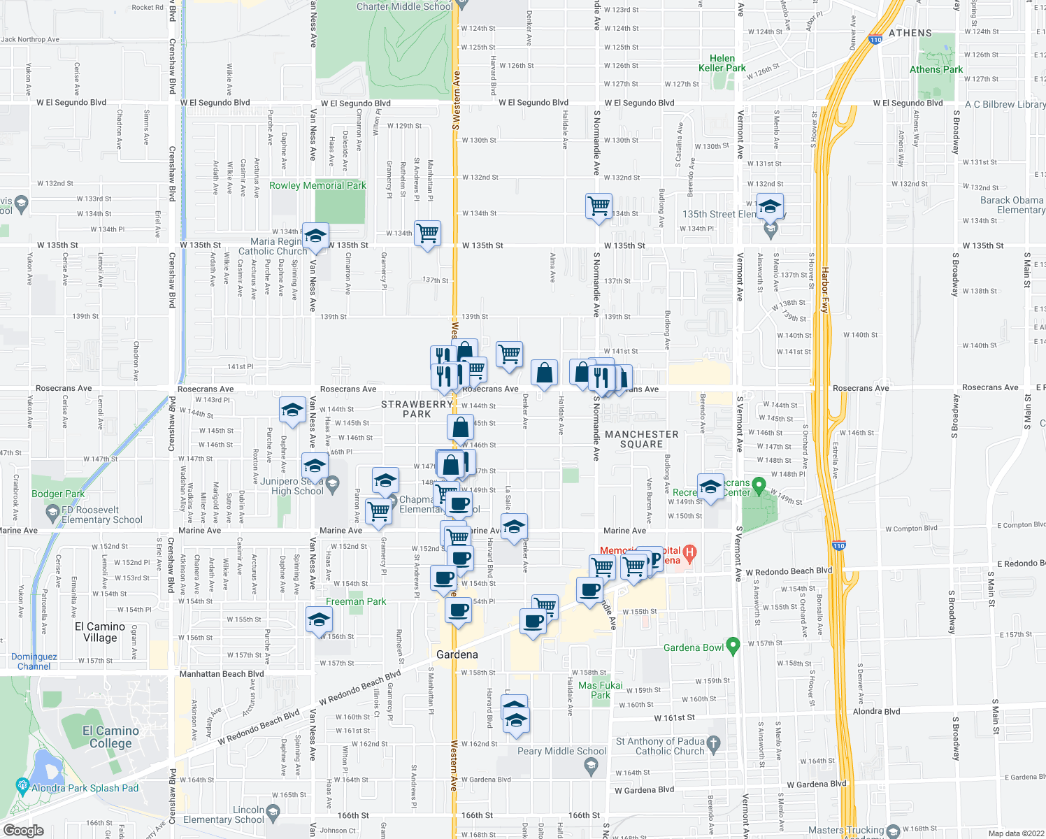 map of restaurants, bars, coffee shops, grocery stores, and more near 1608 West 145th Street in Gardena