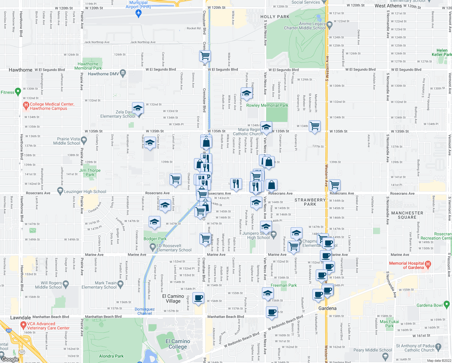 map of restaurants, bars, coffee shops, grocery stores, and more near 2805 West 141st Place in Gardena