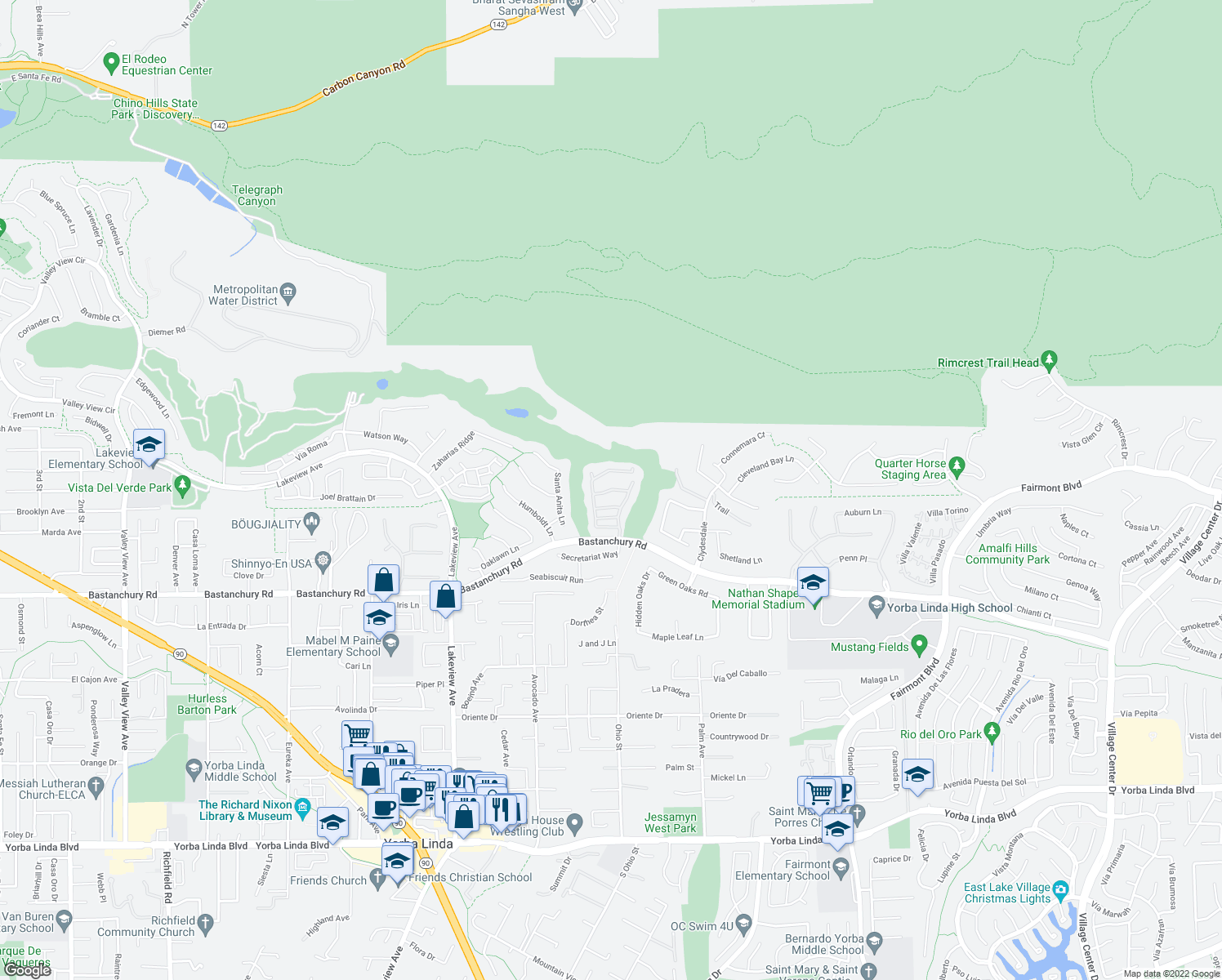 map of restaurants, bars, coffee shops, grocery stores, and more near Pelham Way in Yorba Linda