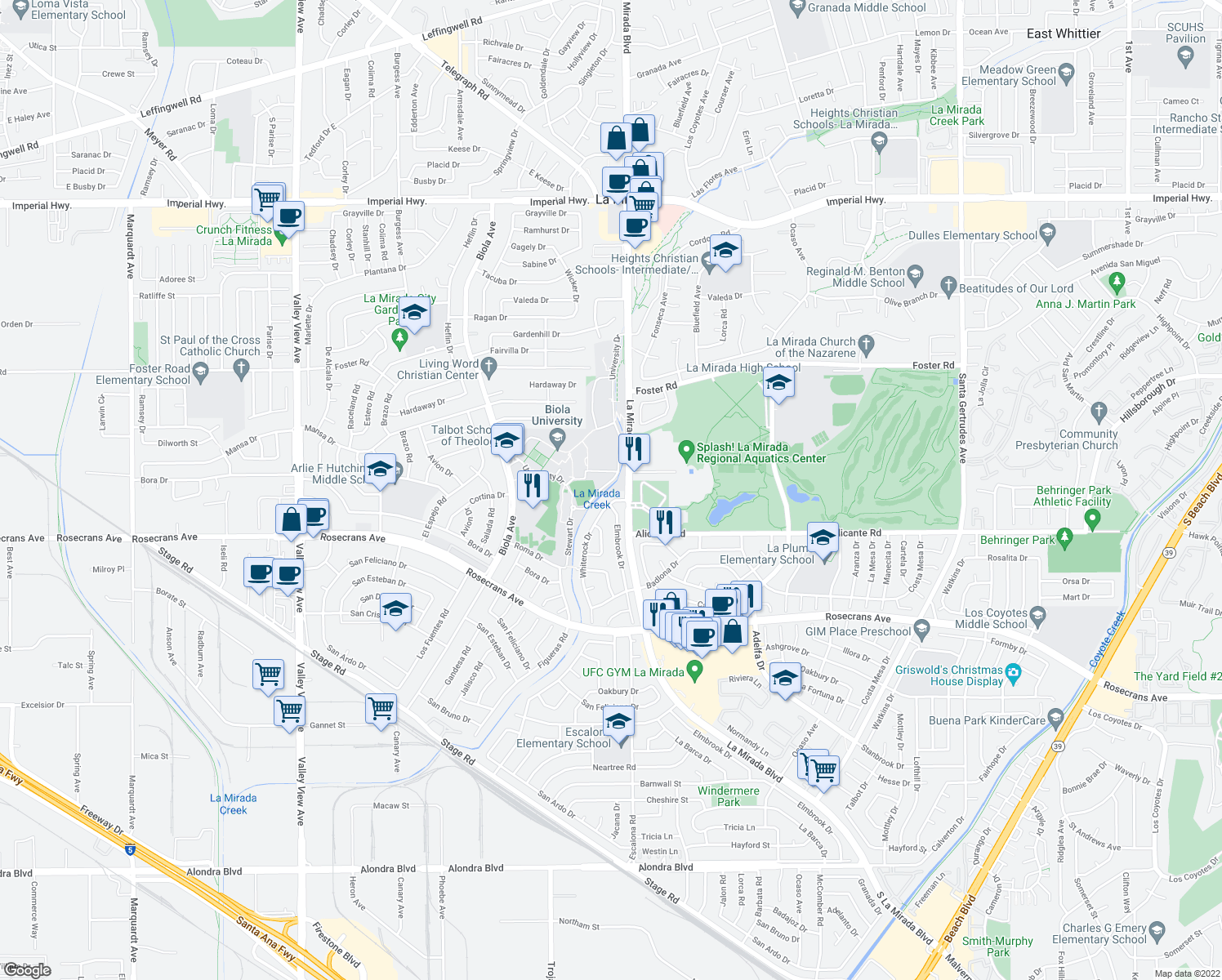 map of restaurants, bars, coffee shops, grocery stores, and more near in La Mirada