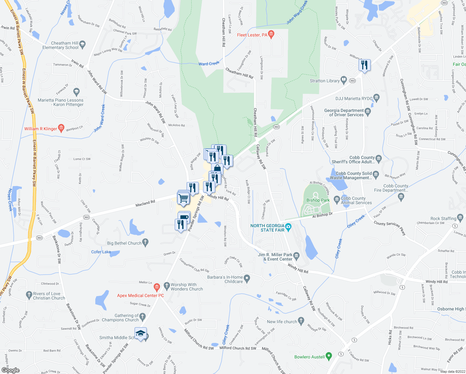 map of restaurants, bars, coffee shops, grocery stores, and more near 193 Ardmore Road Southwest in Marietta