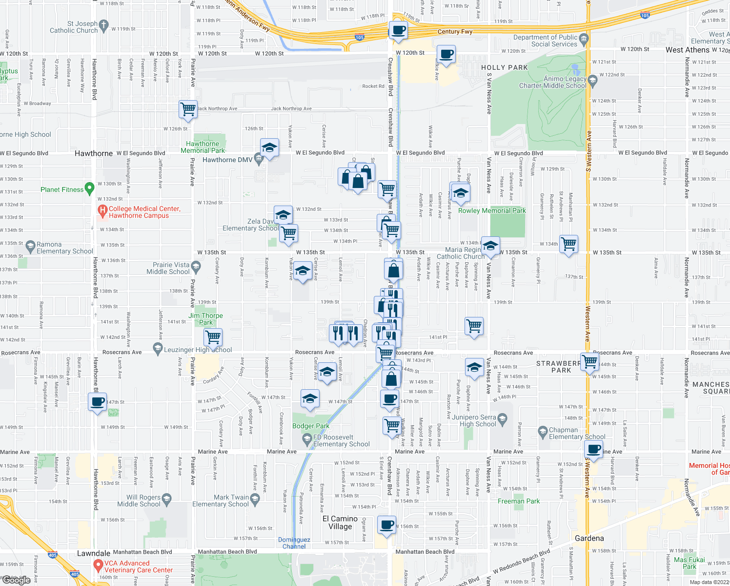 map of restaurants, bars, coffee shops, grocery stores, and more near 3209 West 139th Street in Hawthorne