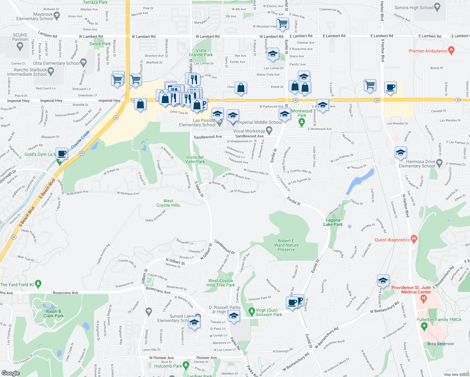 map of restaurants, bars, coffee shops, grocery stores, and more near 621 West Saint Andrews Avenue in La Habra