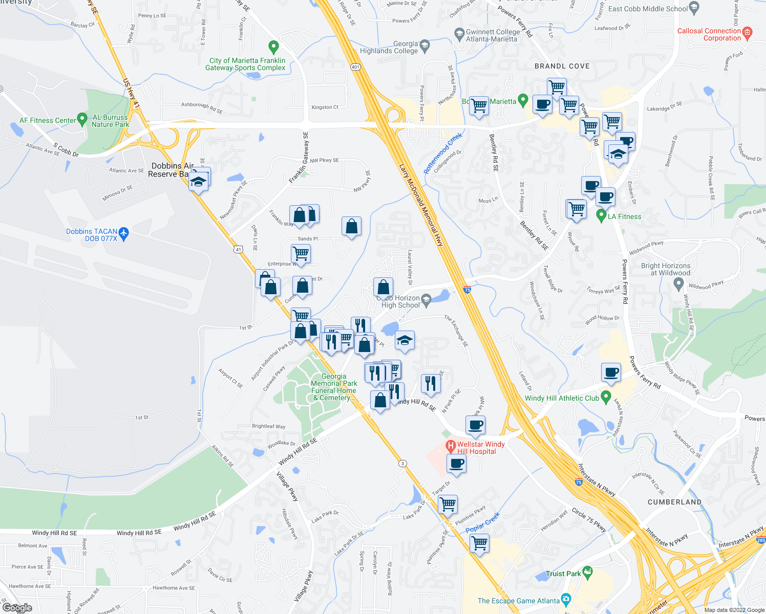 map of restaurants, bars, coffee shops, grocery stores, and more near 1702-1703 Waterfall Village Drive in Marietta