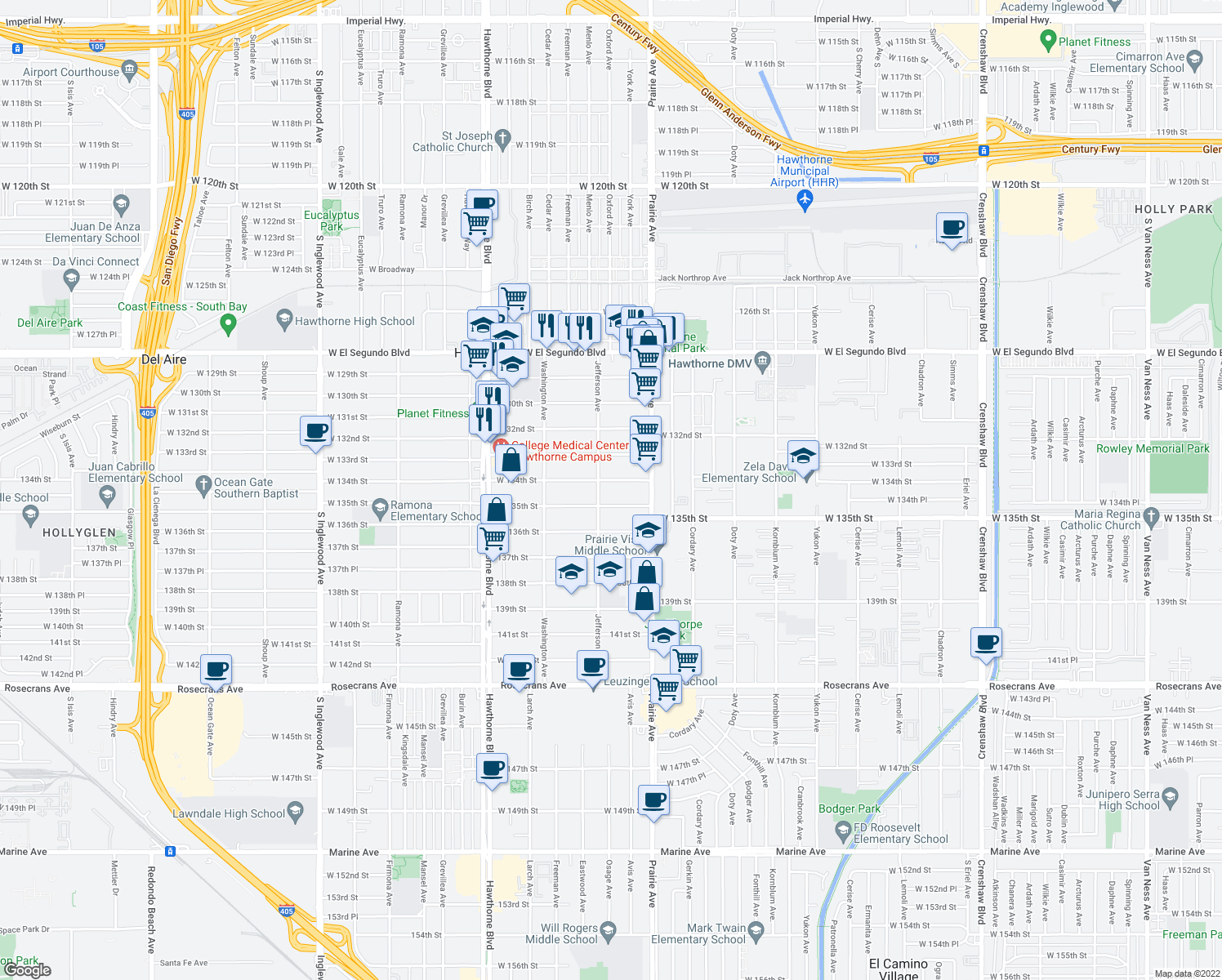 map of restaurants, bars, coffee shops, grocery stores, and more near 4084 West 134th Street in Hawthorne