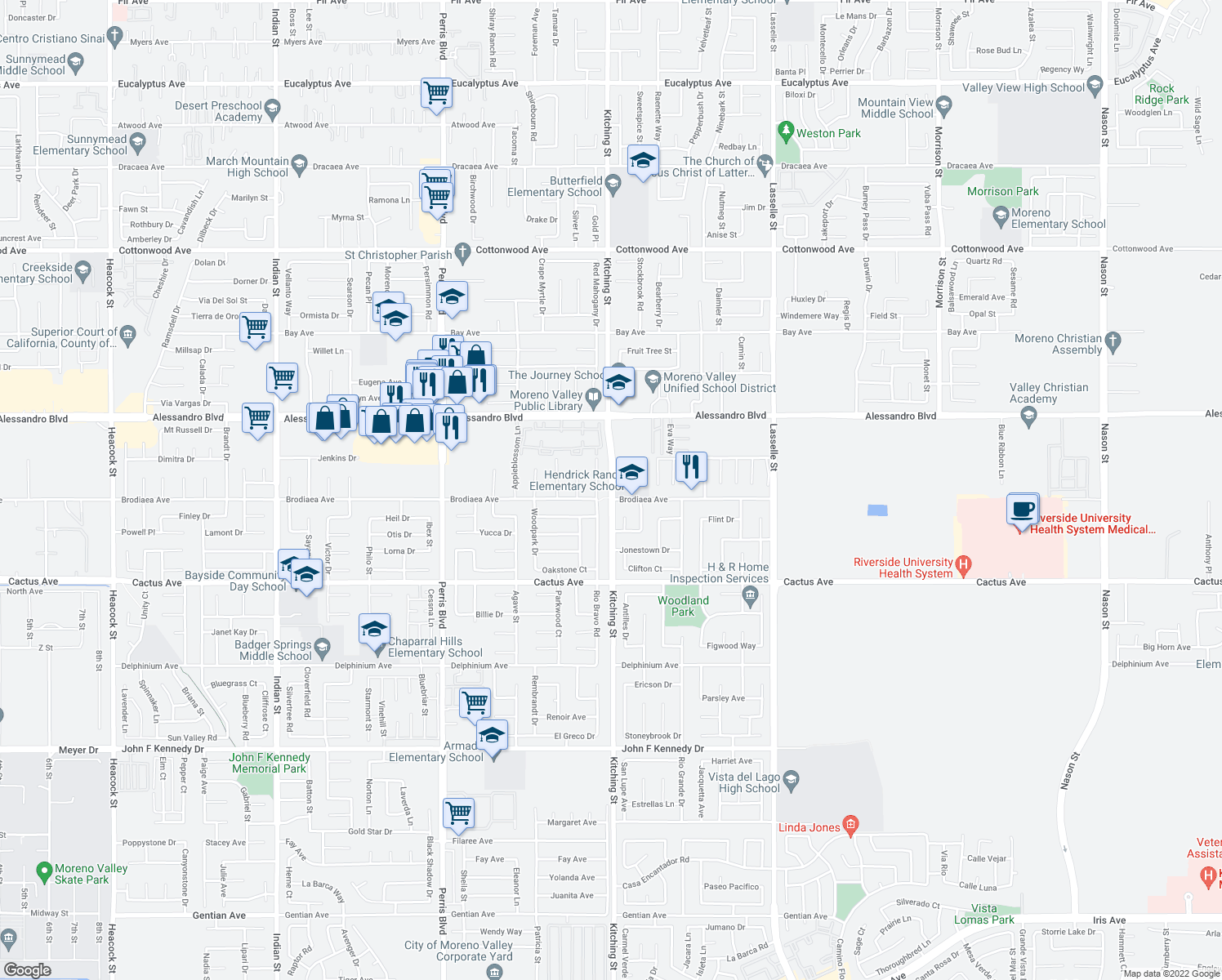 map of restaurants, bars, coffee shops, grocery stores, and more near Kitching Street in Moreno Valley