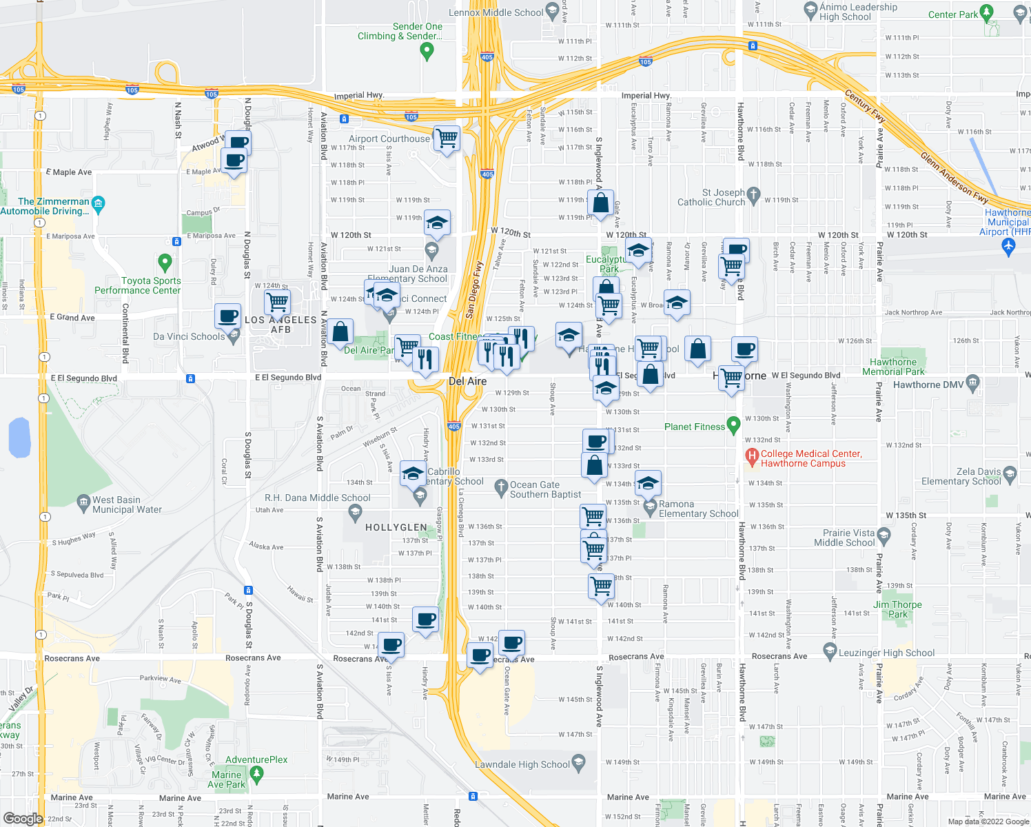 map of restaurants, bars, coffee shops, grocery stores, and more near 5024 West 130th Street in Hawthorne