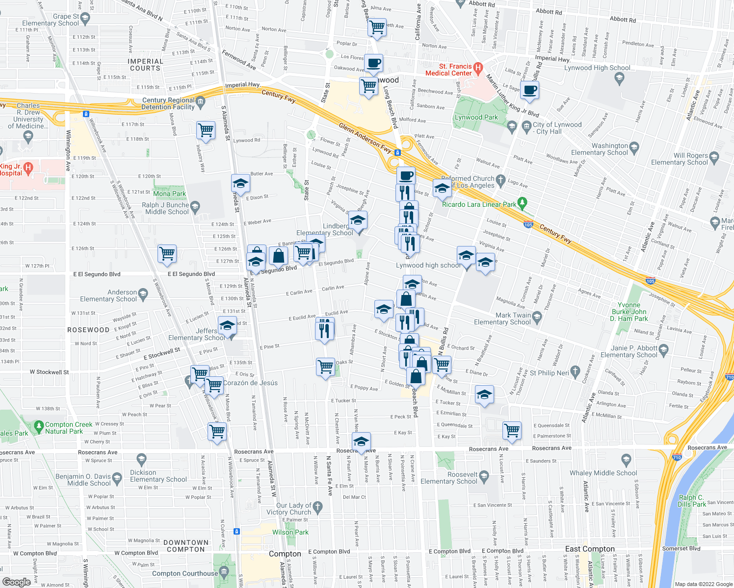 map of restaurants, bars, coffee shops, grocery stores, and more near 3213 Palm Avenue in Lynwood