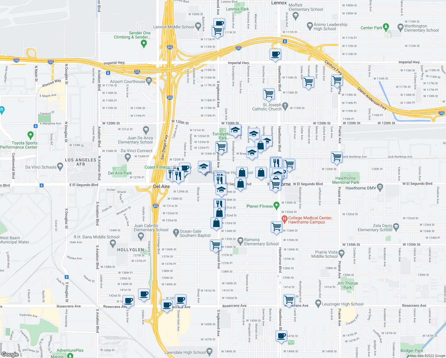map of restaurants, bars, coffee shops, grocery stores, and more near 4739 El Segundo Boulevard in Hawthorne