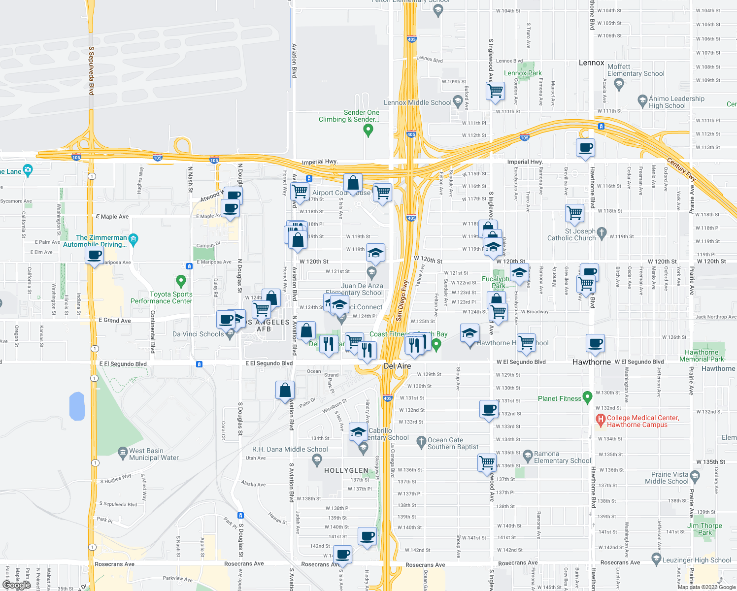map of restaurants, bars, coffee shops, grocery stores, and more near 5257 West 123rd Place in Hawthorne