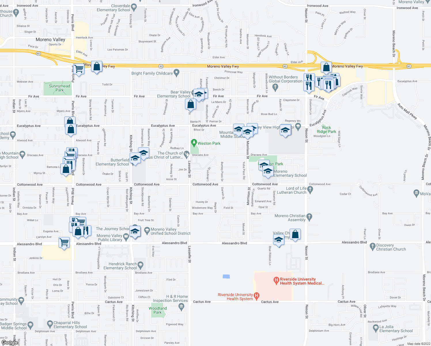 map of restaurants, bars, coffee shops, grocery stores, and more near Ferndale Ct in Moreno Valley
