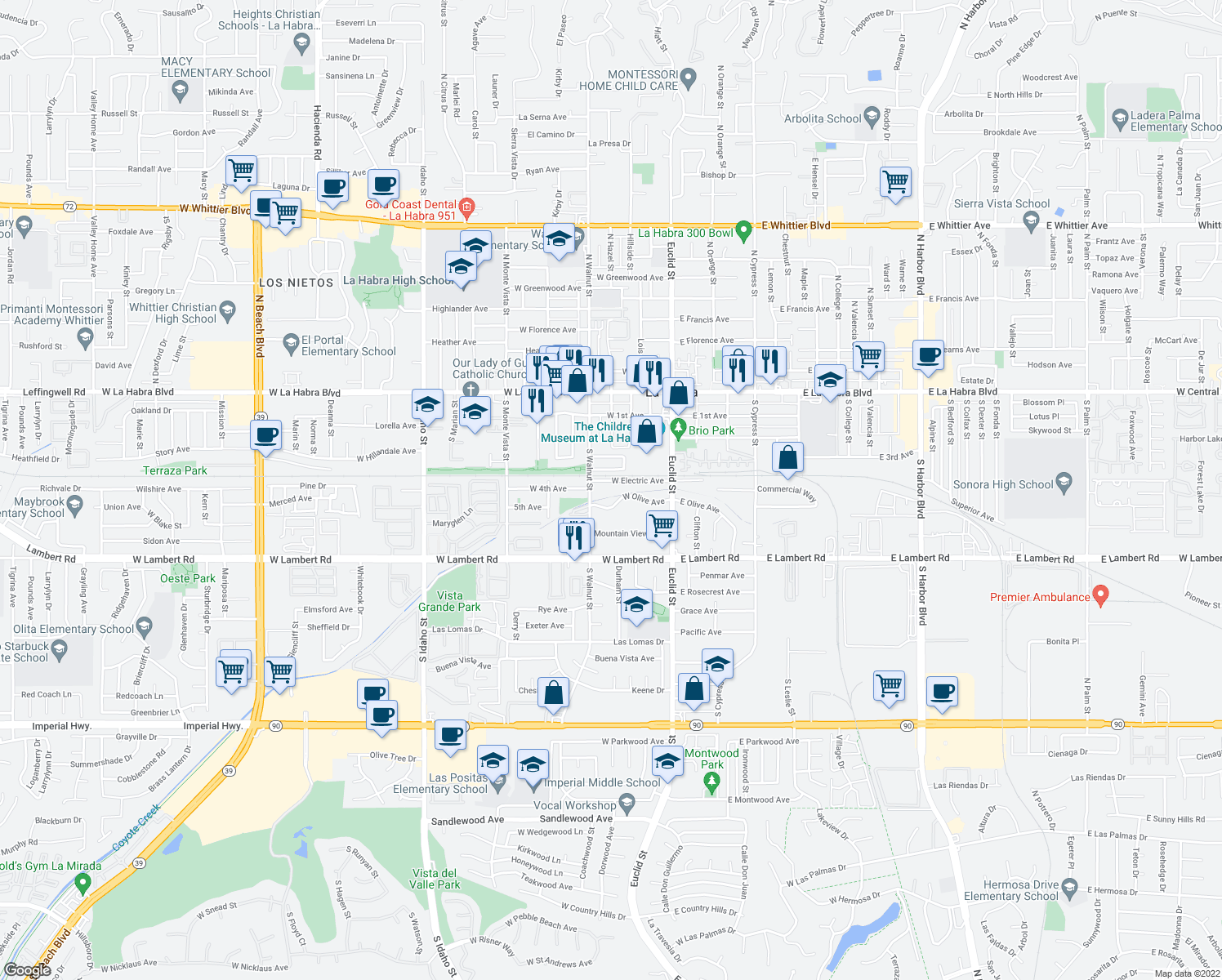 map of restaurants, bars, coffee shops, grocery stores, and more near 400 West Electric Avenue in La Habra