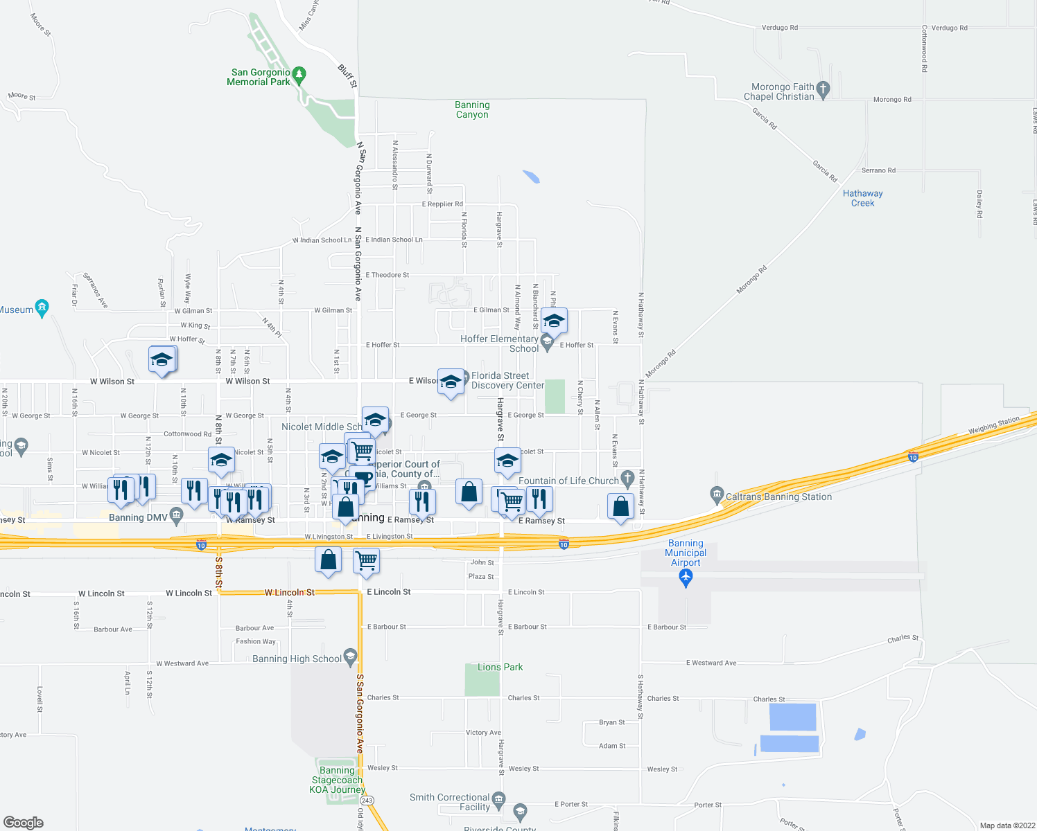 map of restaurants, bars, coffee shops, grocery stores, and more near East George Street in Banning