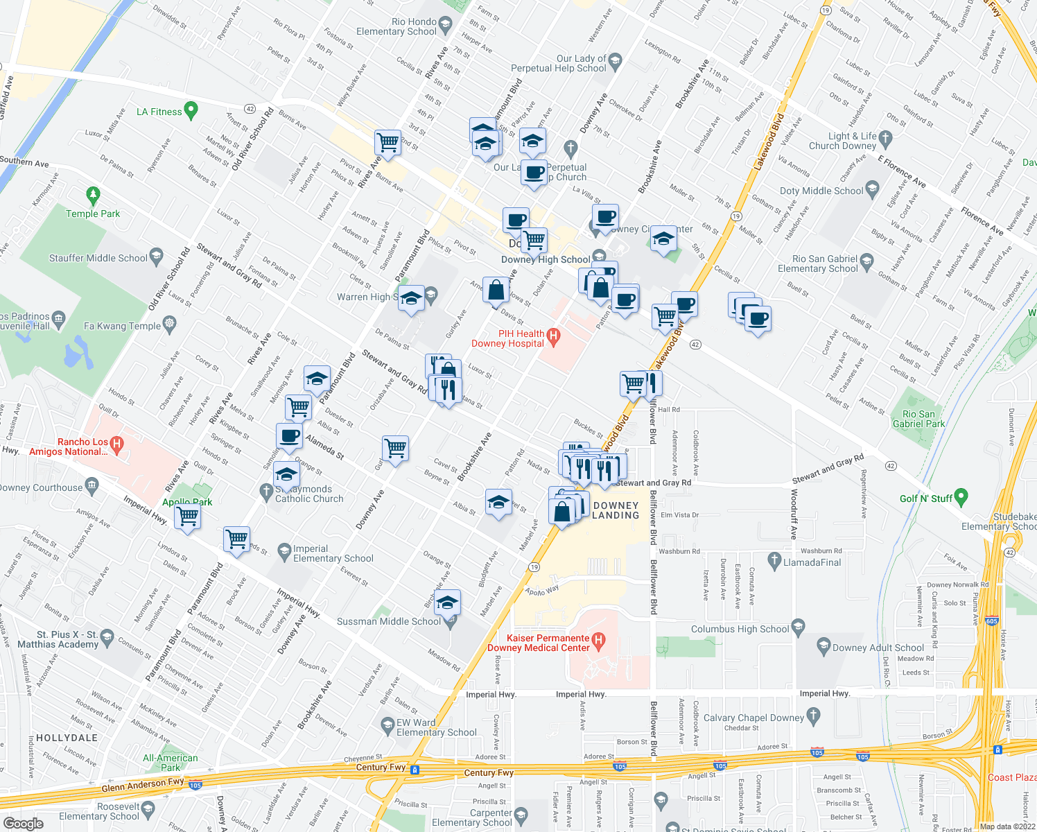 map of restaurants, bars, coffee shops, grocery stores, and more near 8521 Fontana Street in Downey