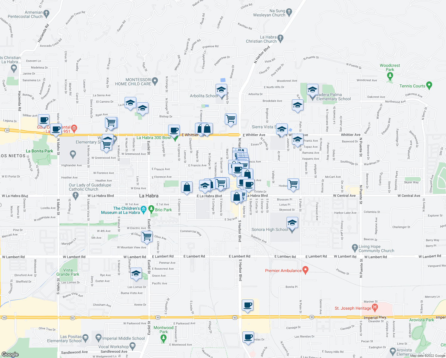 map of restaurants, bars, coffee shops, grocery stores, and more near 317 North Sunset Street in La Habra