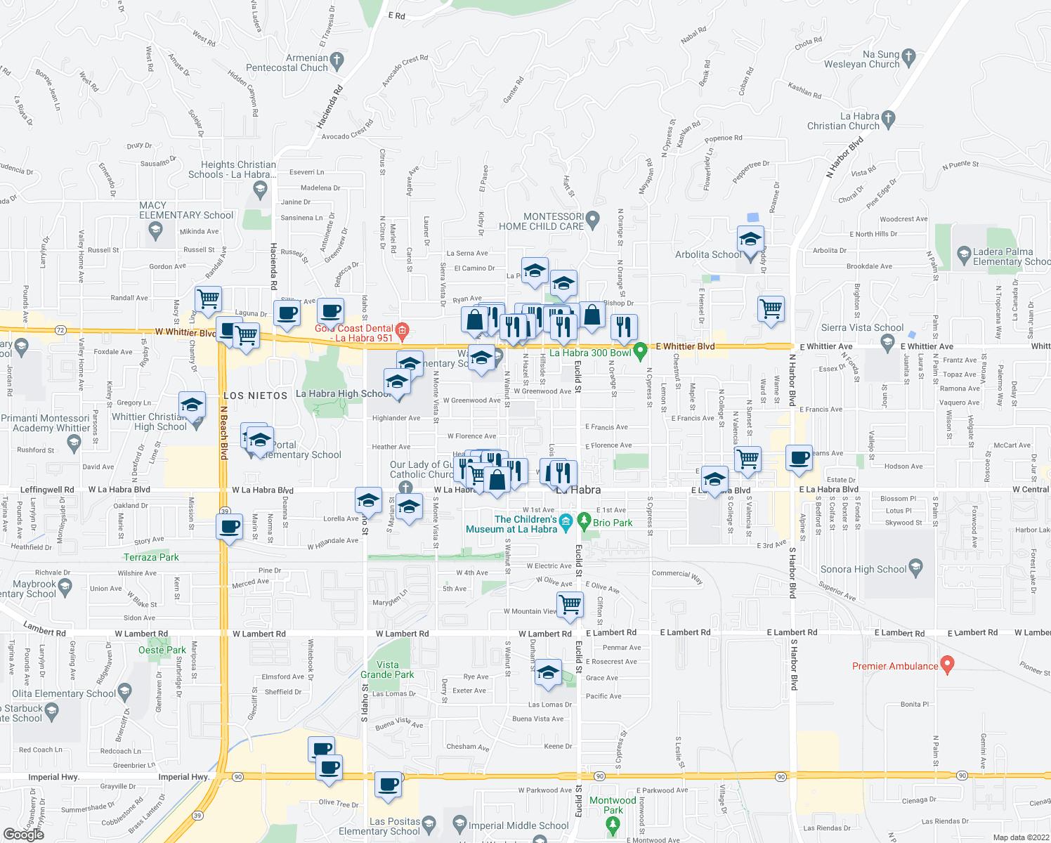 map of restaurants, bars, coffee shops, grocery stores, and more near 500 North Walnut Street in La Habra