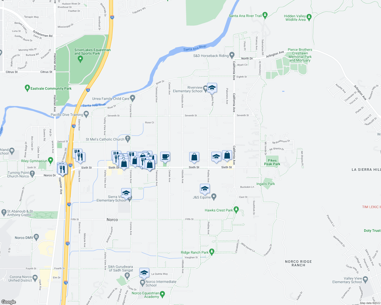map of restaurants, bars, coffee shops, grocery stores, and more near 4059 Hillside Avenue in Norco